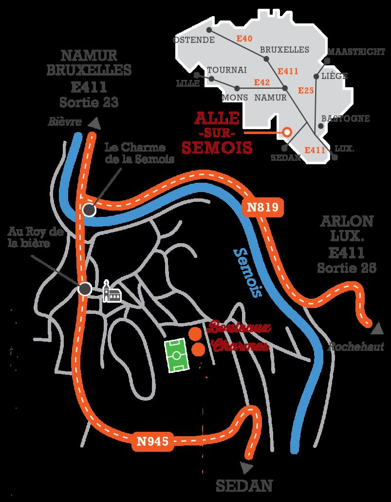 Plan d acces Chalets des Ardennes à Alle-sur-Semois